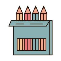 school education pencils color in box supply line and fill style icon vector