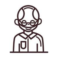 avatar male man portrait cartoon character line style icon vector