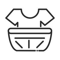 cleaning shirt in plastic basin laundry domestic hygiene line style icon vector