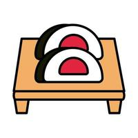 sushi oriental menu wrapped rolls in board line and fill style icon vector