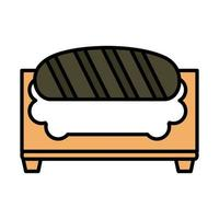 sushi oriental menu in cutting board line and fill style icon vector