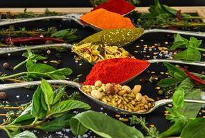 Coloridas diversas hierbas y especias para cocinar sobre fondo oscuro foto