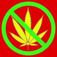 NO marijuana symbolic sign red circle green leaf white background vector illustration