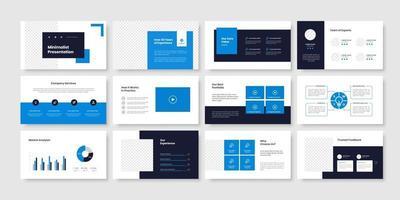 Business minimal slides presentation template vector