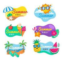 Summer Vibes Badge Collection vector