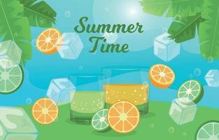 bebida de verano fondo de cócteles frescos vector