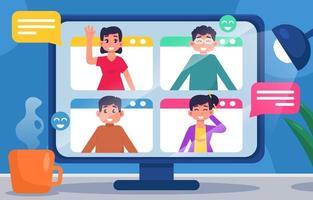 Group of People Having Virtual Meeting vector