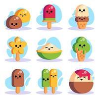 dulces de verano colecciones de iconos de comida vector