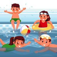 Children Swimming on Summer vector