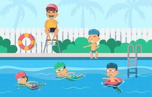 los niños nadan durante la temporada de verano vector