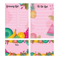 Grocery Journal Background Template Set vector
