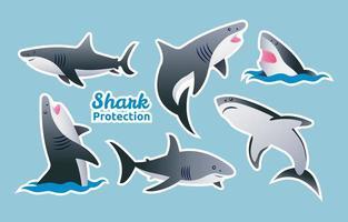 Shark Sticker Set Template vector