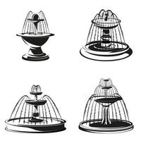 Set of water fountains in monochrome style vector