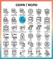 General data protection regulation GDPR or RGPD concept icons vector