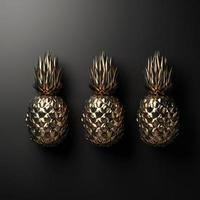 Gold pineapples on a black background in 3D rendering photo
