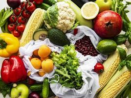 A variety of organic fruits and vegetables photo