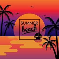 tropical paradise summer sunset beach poster vector