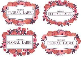 marco de diseño femenino de etiquetas rosas vector