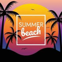 tropical paradise summer sunset beach vector