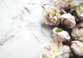 Peony flowers on a marble background photo