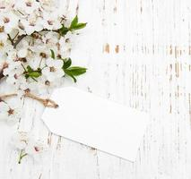 Spring cherry blossom with a card on a wooden background photo
