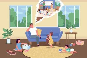 Parenting during isolation flat color vector illustration