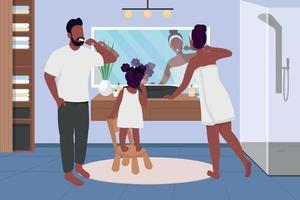 Family brushing teeth flat color vector illustration