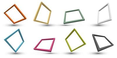 Set of 3D distort perspective square frame border with shadow isolated on white background vector