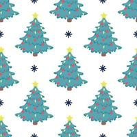 Vector seamless pattern of a Christmas tree with red balloons and a bright yellow star on top on a white background with snowflakes