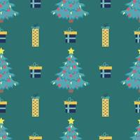 Vector seamless Christmas tree pattern with red balloons and bright yellow star on top on green background with gift boxes
