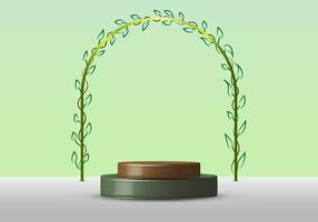 3D realistic empty green round pedestal mockup with rounded line border with leaves on soft green natural background nature concept vector