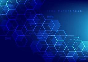 Abstract hi-tech digital technology geometric hexagon pattern shapes on blue background. vector