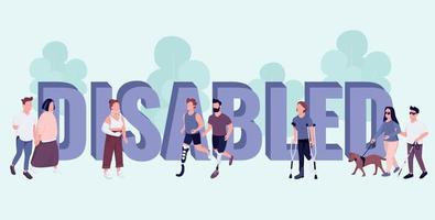 Disabled word concepts flat color vector banner