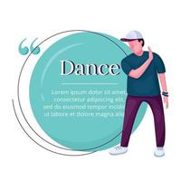Contemp dancer flat color vector character quote