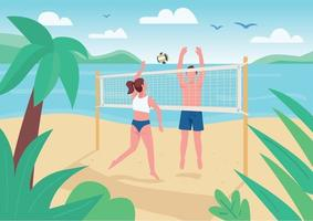 Man and woman playing beach volleyball flat color vector illustration