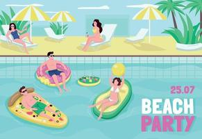 Beach party poster flat vector template