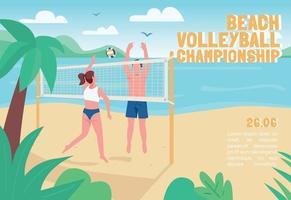 Beach volleyball championship banner flat vector template