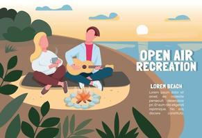 Open air recreation banner flat vector template