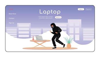 Laptop theft landing page flat color vector template