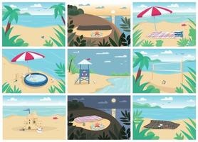 Tropical sand beach and sea flat color vector illustrations set