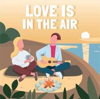 Romantic date on beach social media post mockup vector