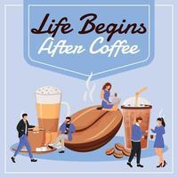 Life begins after coffee social media post mockup vector