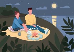 Romantic evening date on beach flat color vector illustration