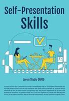 Self presentation skills poster flat silhouette vector template