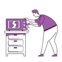 Man fixing microwave flat silhouette vector illustration