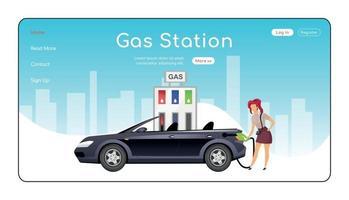 Plantilla de vector de color plano de página de aterrizaje de gasolinera