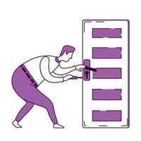 Handyman fixing door knob flat silhouette vector illustration