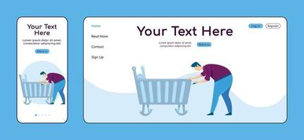 Father fixing cradle adaptive landing page flat color vector template set