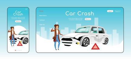 plantilla de vector plano de página de aterrizaje sensible a accidente de coche