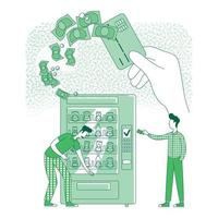 Cashless card thin line concept vector illustration